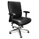 Mayline Mercado Series Mid-Back Leather/Mesh-Fabric Chair, Black