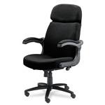 Mayline Big & Tall Executive Chair w/Upholstered Arms, Black Fabric