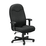 Mayline Comfort Series High Back Executive Swivel Task Chair, Black Fabric