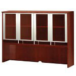 Mayline Napoli Veneer Series Hutch with Glass Doors, 72w x 15d x 50-1/2h, Sierra Cherry