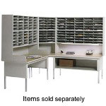 "Mayline Sorter With Riser, 2 Tier, 48"" x 13-1/4"" x 46-1/4"", Pebble Gray"