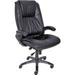 Mayline High-Back Swivel/Tilt Chair, Gunmetal Aluminum Base, Black Leather