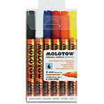 Molotow Acrylic Markers, 2mm Round Tip, 6/ST, Ast