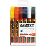 Molotow Acrylic Markers, 4mm Round Tip, 6/ST, Ast