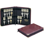 MMF Industries Portable Zippered Vinyl Key Case with 24 Key Tags, 8 3/8w x 7h, Burgundy