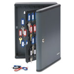 MMF Industries Locking 90-Key Cabinet, 11-3/4w x 4-1/4d x 14-3/4h, Charcoal Gray