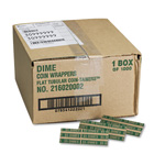 MMF Industries Flat Kraft Paper Coin Wrappers, Holds 50 Dimes, Green, 1000/Box