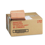 MMF Industries Flat Kraft Paper Coin Wrappers, Holds 40 Quarters, Orange, 1000/Box