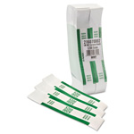 MMF Industries Currency Straps, Self Sealing, $200 Value, White/Green, 1000/Box