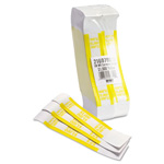 MMF Industries Currency Straps, Self Sealing, $1000 Value, White/Yellow, 1000/Box