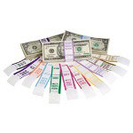 MMF Industries Currency Straps, Self-Stick, 50, 1000/PK, Violet
