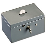 MMF Industries Small Cash Box with Coin Slot, Disc Lock, Gray