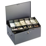 MMF Industries Extra Large Cash Box with Handles, Disc Tumbler Lock, Gray