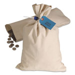 MMF Industries Heavyweight Cotton Duck Cloth Bag for Coin/Currency, 12w x 19h