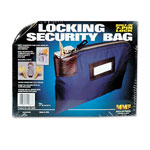 "MMF Industries Navy Blue Locking Security Bag with Label Holder, 11"" x 8 1/2"""