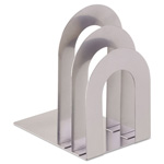 MMF Industries Soho Bookend with Curved Corners, Silver
