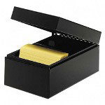"MMF Industries Card File, Hinged Lids, 3""x5"", Black"