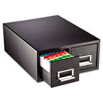 "MMF Industries Card Cabinet File, 2 Drawer, 3000 Card Cap, 4""x6"", Black"