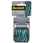 "Scotch Expressions Packaging Tape, 1.88"" x 500"", Blue and Black Zebra"