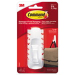Command® General Purpose Hooks, 5lb Capacity, Plastic, White, 1 Hook & 2 Strips/Pack