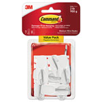 Command® General Purpose Hooks, Medium, 2 lb Capacity, White, 7 Hooks & 8 Strips/Pack