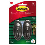 Command® All Weather Hooks and Strips, Plastic, Medium, 2 Hooks & 4 Strips/Pack