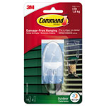 Command® All Weather Hooks and Strips, Plastic, Large, 1 Hooks & 2 Strips/Pack