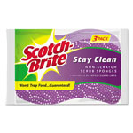 Scotch Brite® Stay Clean Non-Scratch Scrub Sponges, 3 3/16 x .85 x 4 3/4, Purple, 3/Pack