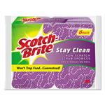 Scotch Brite® Stay Clean Non-Scratch Scrub Sponges, 3 3/16 x 7/8 x 4 3/4, Purple, 6/Pack