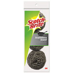 "Scotch Brite® Metal Scrubbing Pads, 2 1/2"" x 2 3/4"", Stainless Steel, Silver, 24 Pads"