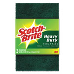 "3M Heavy-Duty Scour Pad, 3.8"" W x 6"" L, Green, 3/Pack"