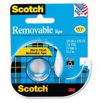 "Scotch Removable Tape with Dispenser, 1"" Core, 3/4"" x 18 Yards"