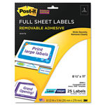Post-it® Removable ID Labels, 8-1/2w x 11,h White, 25 Labels/Pack