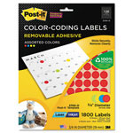 3M Removable Color-Coding Label, 3/4in Dia, Assorted, 1800 Labels/Pack
