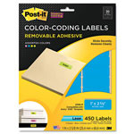 3M Removable Color-Coding Labels, 1 x 2-5/8, Assorted Neon, 450/Pack