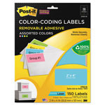 3M Removable Color-Coding Labels, 2 x 4, Assorted Neon, 150/Pack
