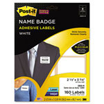 3M Removable Name Badge Labels, 2-1/3 x 3-3/8, White, 160/Pack