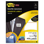 3M Removable Name Badge Labels, 2-1/3 x 3-3/8, White, 400/Pack