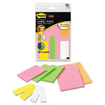 Post-it® Removable Label Pads, Asst Sizes/Colors, 6 Pads/Pack, 225/Pack