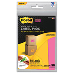 Post-it® Removable Label Pads, 2-7/8w x 4-5/8h, Orange/Pink, 50 Labels/Pack