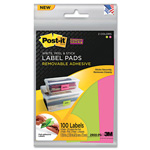 Post-it® Removable Label Pads, 1-7/8w x 2-7/8h, Limeade/Pink, 100/Pack