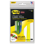 Post-it® Removable Label Pads, 3/4w x 2-3/8h, White/Yellow, 200 Labels/Pack