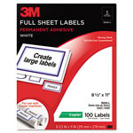3M Permanent Adhesive White Full Sheet Copier Labels, 8-1/2 x 11, 100 Labels/Pack