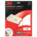 3M Permanent Adhesive White Laser Mailing Labels, 1 x 2-5/8, 750/Pack