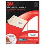 3M Permanent Adhesive White Laser Mailing Labels, 1 x 2-5/8, 7500/Pack