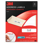 3M Permanent Adhesive White Laser Mailing Labels, 1 x 4, 2000/Pack