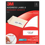3M Permanent Adhesive White Laser Mailing Labels, 1-1/3 x 4, 1400/Pack