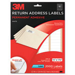 3M Permanent Adhesive White Mailing Labels f/Laser Printers, 1/2 x 1-3/4, 2000/Pack