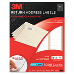3M Permanent Adhesive White Mailing Label f/Laser Printers, 1/2 x 1-3/4, 8000/PK