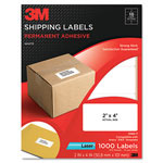 3M Permanent Adhesive White Laser Mailing Labels, 2 x 4, 1000/Pack